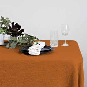 100% Linen Hemmed Table Runner 40 X 150CM Rust - Each