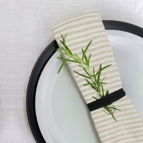 100% Linen Natural/White Stripe Napkins - 4 Pack