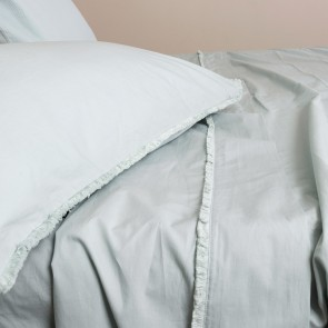 Fringe Stonewash Cotton Sheet Set - Sage