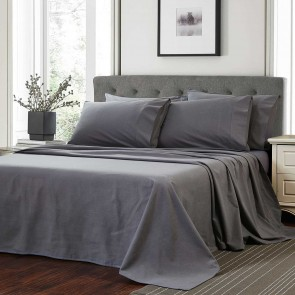Linens & More Flannelette Sheet Set - Charcoal