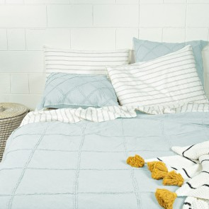 Frances Fringed Duvet Cover Set - Light Blue