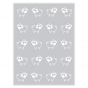 Sheep Sherpa Baby Blanket Grey