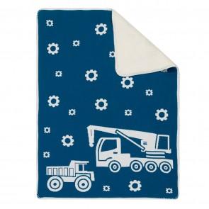 Truck Sherpa Baby Blanket Blue