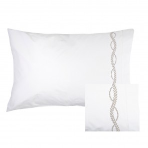 Empire Soft Grey Embroidery Pillowcase Pair