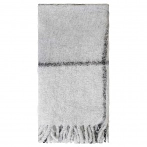 Bliss Grid Bumble Fringe Throw - Lunar Rock/Black