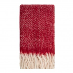 Bliss Mohair Blend Herringbone Chilli Pepper Oak Throw with Bumble Fringe