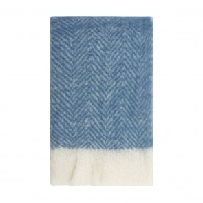 Bliss Mohair Blend Herringbone Throw Star Sapphire with Eyelash Fringe
