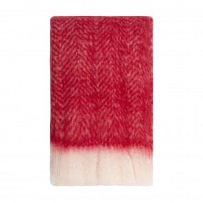 Bliss Mohair Blend Herringbone Throw Chilli Pepper with Eyelash Fringe