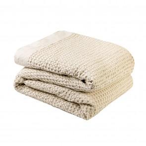 L&M Cotton Waffle Blanket Linen