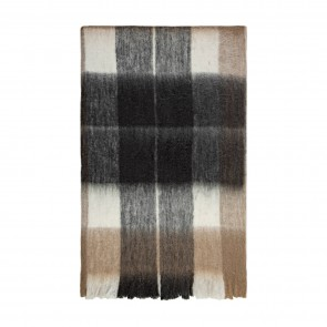 Bliss Mohair Blend Check Throw - Beige/Chocolate