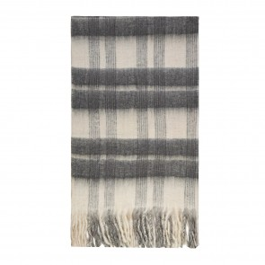 Bliss Mohair Blend Throw Bumble Fringe - White/Dark Grey