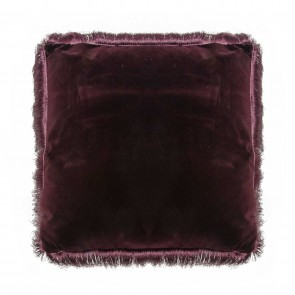 Aubergine Fringed Square Cushion