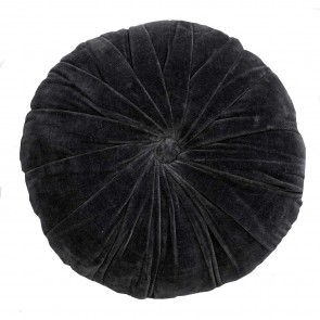 Cotton Velvet/linen Round Cushion - Oak Buff