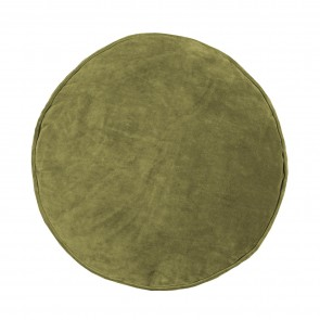 Velvet/Cotton Round Cushion - Olive Green