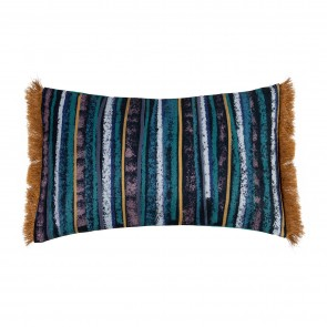 Velvet Stripe Cushion with Fringe