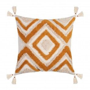 Nomad Zigzag Tassel Cushion - Natural/Caramel