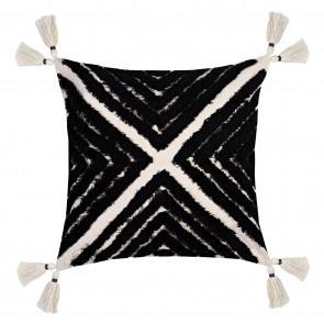 Nomad Tassel Cushion - Black/Natural