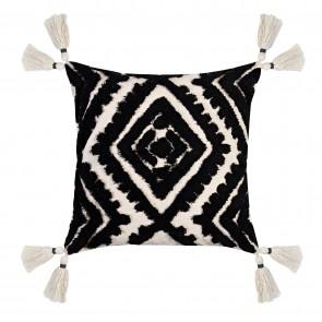 Nomad Double Diamond Tassel Cushion - Black/Natural