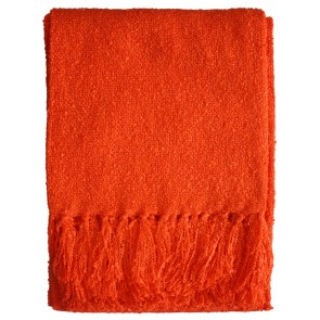 Limon Acrylic Boucle Yarn Throw Tangerine Tango