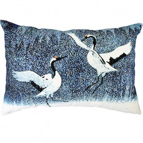 Limon Oriental Cranes Blue White Cushion