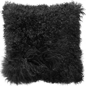 Mulberi Meru Tibetan Lamb Cushion Black