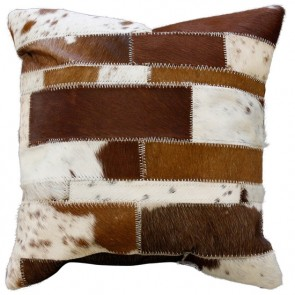 Limon Paulo Brown White Cowhide Cushion