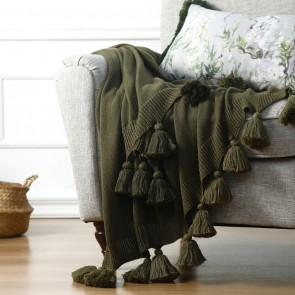 100% cotton Birch Throw by MM Linen Olive