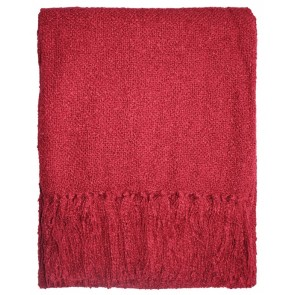 Limon Acrylic Boucle Yarn Throw Red