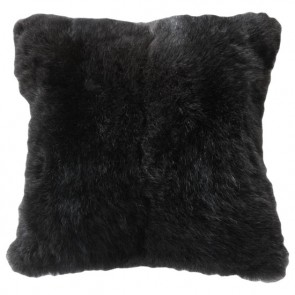 Rabbit - Dyed Black Cushion