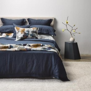 Linen Navy Duvet Cover - NZ Made