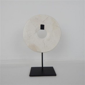 Marble Circle on Stand - White