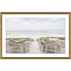 Beach Walk Glass Framed Print