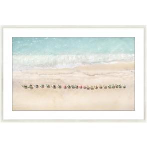 Beach Umbrellas Glass Framed Print