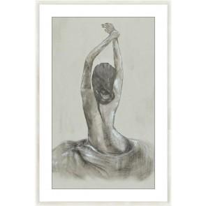 Stretching Lady Glass Framed Print