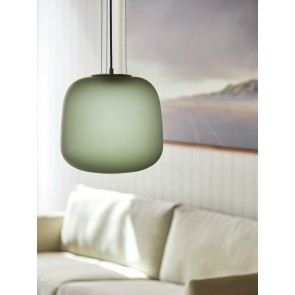 Frosted Smoke Grey/Green Glass Pendant Light - Large