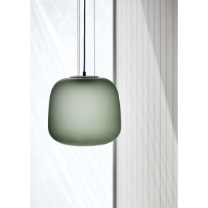 Frosted Smoke Grey/Green Glass Pendant Light - Small