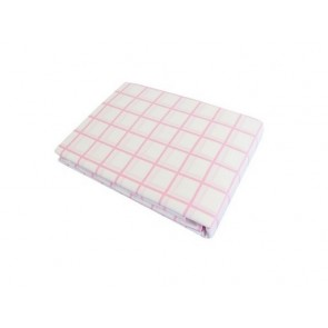 Almond Pink Check Fitted Sheet