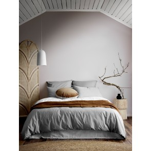 Halo Organic Cotton Duvet Cover by Aura - Pebble