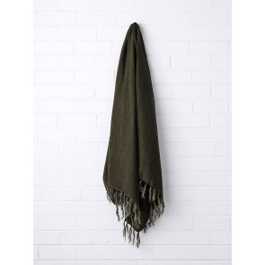 Vintage 100% Linen Fringe Throw by Aura - Khaki