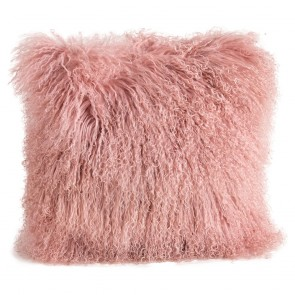 Tibetan Sheepskin Cushion by Auskin - Dark Rose