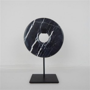 Marble Circle on Stand - Black