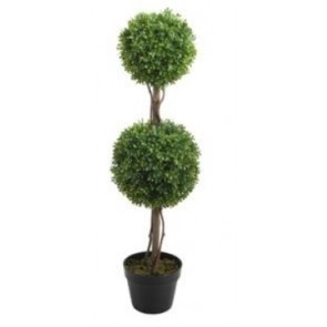 90CM Plastic Trunk Boxwood Ball Tree with Pot