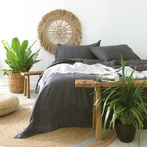 100% French Flax Linen Sheet Sets by Bambury - Charcoal