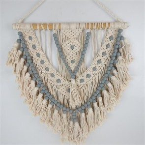 Macrame Beaded Hanging Grey/Cream