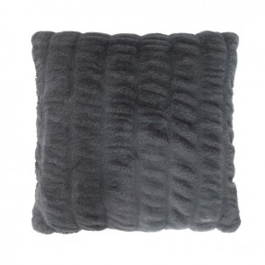 Ripple Faux Fur Cushion by Bambury - Charcoal