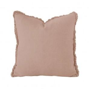 Linen Square Cushion by Bambury - Tea Rose