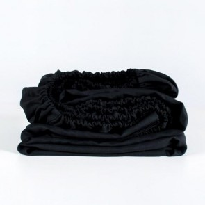 100% Linen Fitted Sheet - Black