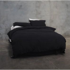 100% Linen Duvet Cover Set - Black