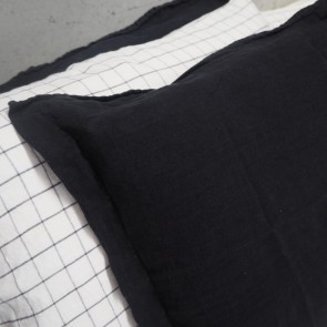 100% Linen Pillowcase Pair Black