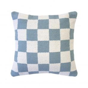 Checker Cushion by Bambury - Steel Blue